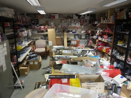 One end of the larger storage room