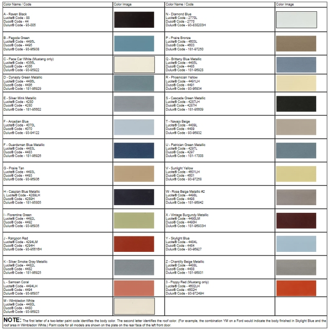 1966 mustang interior paint codes